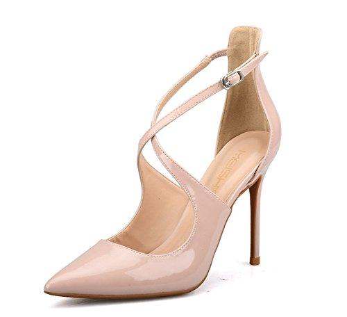 Mujer Puntiagudo del Alto Sandalias Vestir Zapatos Estilete Dedo Boda Corte Tacón pie ZPL Cruzar Correa apricot Zapatillas Tobillo Fiesta fgE4wdqd