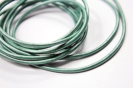 15 Yards 2mm Round Leather Cord Bracelet Necklace Leather Strap Metallic Copper