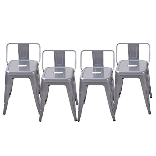 Pack of 4 Low Back Gunmetal Counter Bar Stool Indoor-Outdoor Stackable Bistro Cafe Bar Stool (18 Inch, Low Back Silver) (Bar Outdoor Table And Stools)