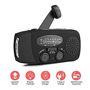 41iru42FzCL. SS300  - [New Version] Houkiper Emergency Hand Crank Solar Self Powered NOAA AM FM Radio with LED Flashlight, Phone Charger and 1000mAh Power Bank for Camping Hiking Outdoor Survival