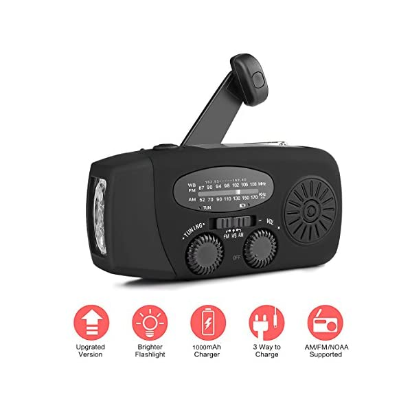 41iru42FzCL. SS600  - [New Version] Houkiper Emergency Hand Crank Solar Self Powered NOAA AM FM Radio with LED Flashlight, Phone Charger and 1000mAh Power Bank for Camping Hiking Outdoor Survival