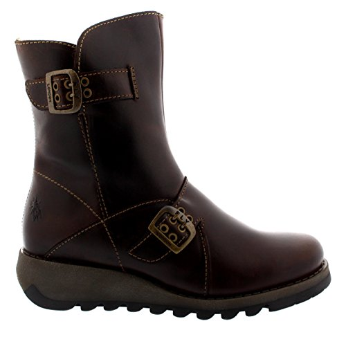 Womens Fly London Seti Scarpe Calde Zip Inverno Neve Foderata In Pelliccia Stivaletti Marrone Scuro
