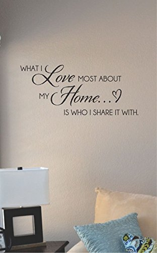 What I Love Most About My Home Is Who I Share It with Vinyl Wall Art Decal Sticker
