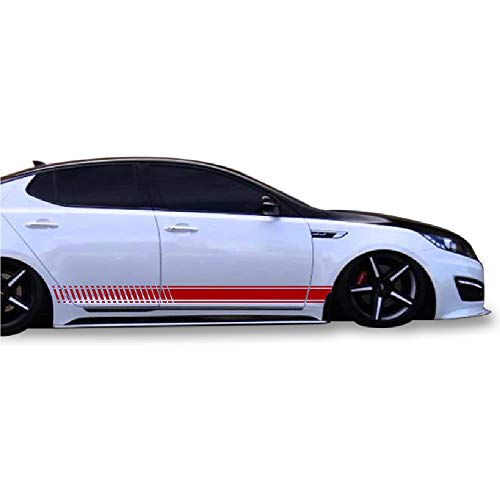 Side Stripe Kit - Bubbles Designs Decal Sticker Vinyl Side Sport Stripe Kit Compatible with Kia Optima 2010-2015 (RED)