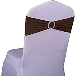 SINSSOWL 100PCS Stretch Wedding Chair Bands With Buckle Lycra Slider Sashes Bow Decorations 25 Colors (chocolate) …