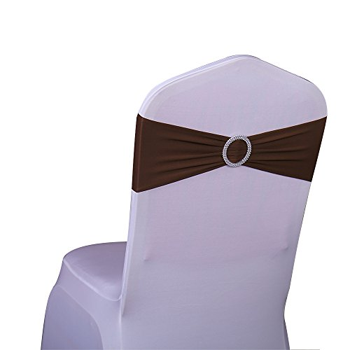 SINSSOWL 100PCS Stretch Wedding Chair Bands with Buckle Lycra Slider Sashes Bow Decorations 25 Colors (Chocolate) ... (Buckle Dark Chocolate)