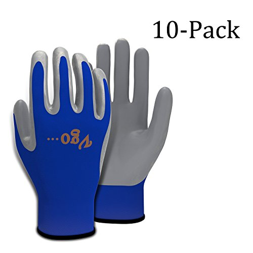 Vgo. Nitrile Coating Gardening and Work Gloves For General Purpose(10 Pairs, S-XXL) …