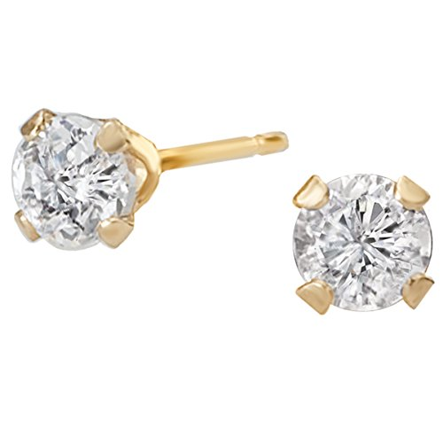 14k Yellow Gold Dainty 3mm CZ Solitaire Stud Earrings (0.20ctw)