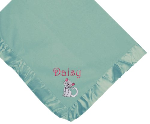 Cat Blue Soft Fleece Embroidered Personalized Baby Blanket - Custom Embroidery Navy Thread
