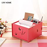LVV Home Smile face Wooden Storage Box/Creative DIY rawer Style practive Waterproof Remote Control Tissue Box