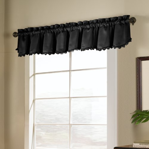 Loop Fringe - United Curtain Blackstone Blackout Loop Fringe Valance, 54 by 15-Inch, Black