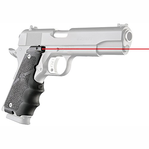 Hogue 45080 LE Government Rubber Red Laser Grip with Finger Grooves Black (Best Colt 1911 For The Money)