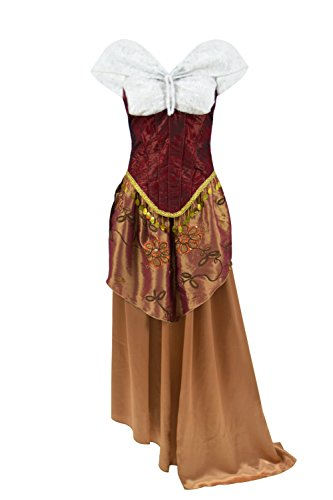 Xiao Maomi Women Musical Drama Opera Phantom Cosplay Costume Christine Masquerade Gothic Gown Corset Red Long Dress (US Women-XXXL, Red) -
