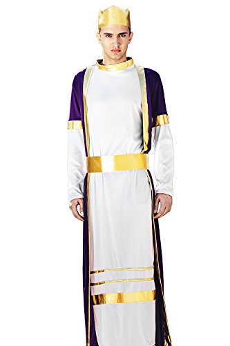 [Men's Deluxe Oriental Arab Prince King of the Kingdom Dress Up & Role Play Halloween Costume (One Size - Fits All)] (King Robe & Crown Set Adult)