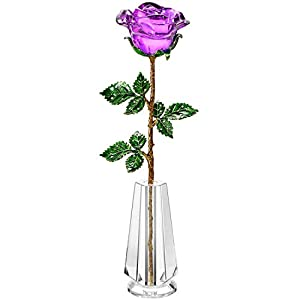 Z'Lavie Crystal Rose with Crystal Vase for Crystal Anniversary, Long Stem Roses Made from K9 Crystal, Great Gifts for Christmas Valentine's Day Birthday 4
