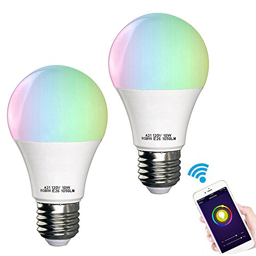 Smart Light Bulb, EEEKit Wifi LED Daylight Bulbs Color Changing Light Compatible With Amazon Alexa/Google Home, Smartphone Controlled,for iOS/Android Smartphone (2 Pack)
