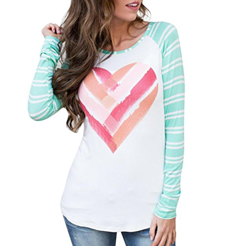 Vovotrade Women Long Sleeve Pullover Valentine's Day Gift Striped Heart Print T-Shirt O-Neck Tops Blouse (S, Green) (Heart Striped Tee)