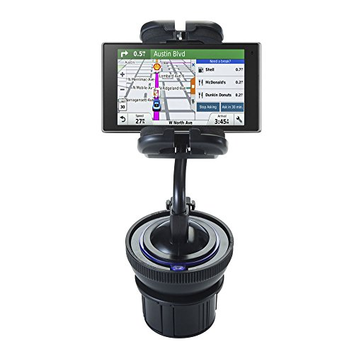 Dual Purpose Adjustable Auto Cupholder Mount and Flexible Windshield Suction Mount for Garmin DriveLuxe 50LMTHD Keep Devices Secure in Any Car or Truck