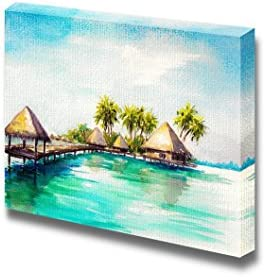 Tropical Bungalows in Blue Sea in Watercolor Style Wall Decor