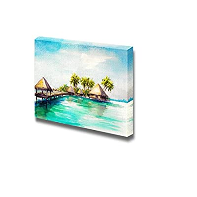 Canvas Prints Wall Art - Tropical Bungalows in Blue Sea in Watercolor Style | Modern Wall Decor/Home Decoration Stretched Gallery Canvas Wrap Giclee Print & Ready to Hang - 12