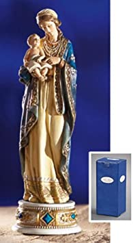 Gifts of Faith Milagros Patron Saints Statue 9 Madonna Child Figure, St. Mary Baby Jesus Musical with Ave Maria Playing