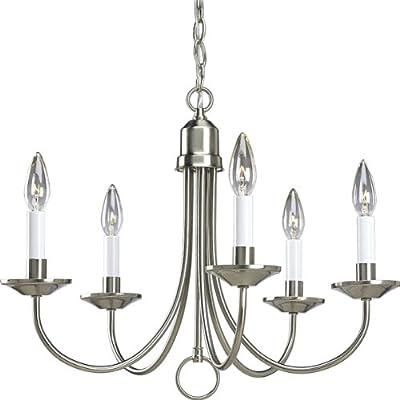 """Brushed Nickel Light 16"""" Candle Light Chandelier"""