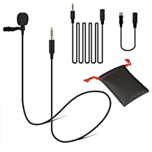 Lavalier Microphone Lapel Clip On Omnidirectional Condenser Mic for iPhone, iPad, Go Pro, Macbook, Samsung Android, Smartphones, Youtube, Interview, Video Recording, Noise Cancelling Mic