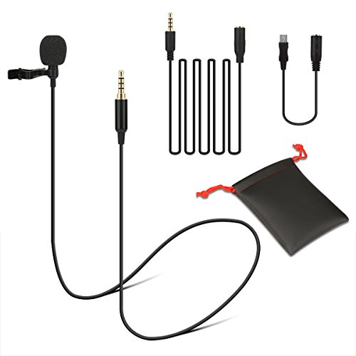 Lavalier Microphone Lapel Clip On Omnidirectional Condenser Mic for iPhone, iPad, Go Pro, Macbook, Samsung Android, Smartphones, Youtube, Interview, Video Recording, Noise Cancelling Mic by Lavidass