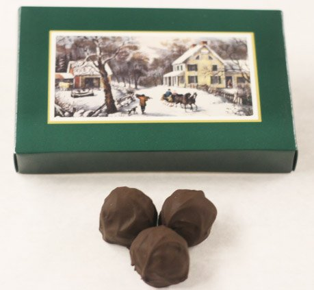 Scott's Cakes Dark Chocolate Covered Raspberry Marzipan Truffles in a 8 oz. Homestead - Cake Marzipan Chocolate