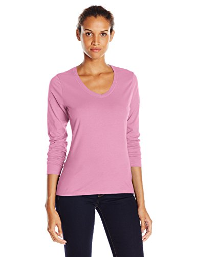 Hanes Women's V-Neck Long Sleeve Tee, Pink Swish, Large