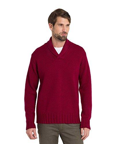 WoolOvers Pullover aus reiner Wolle mit Schalkragen für Herren Burgundy, M