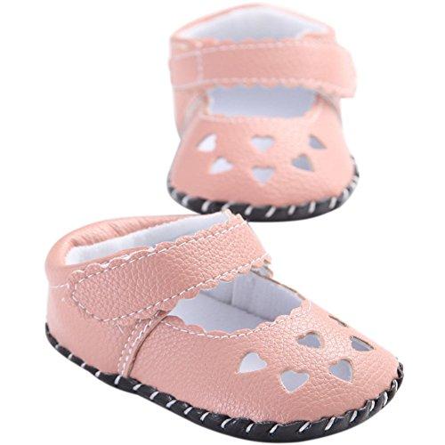 etrack-online bebé niñas primera Walkers Soft Sole zapatos de piel sintética blanco blanco Talla:12-18months rosa