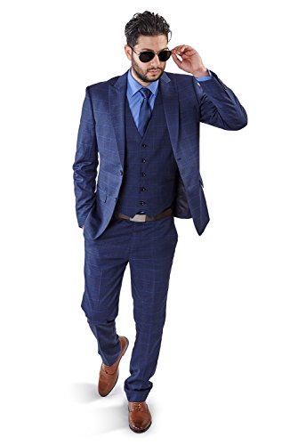 Slim Fit Suit 2 Button Peak Lapel Windowpane Checkered Flat Front Pants 1698 (42 Short 36 Waist 30 Length, Blue with Vest) for $<!--$99.00-->