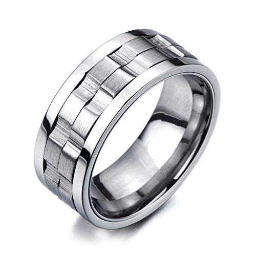 COOLSTEELANDBEYOND Refined Style Stainless Steel Spinner Unisex Ring Man Ring Comfort Fit 9mm (10a) ()