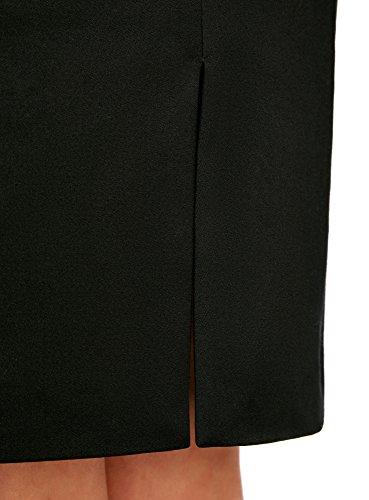 oodji Collection Mujer Falda Recta de Cintura Alta Negro (2900N)