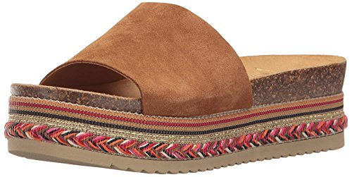 LFL by Lust for Life Womens Perk Open Toe Casual Slide, Chestnut, Size ()