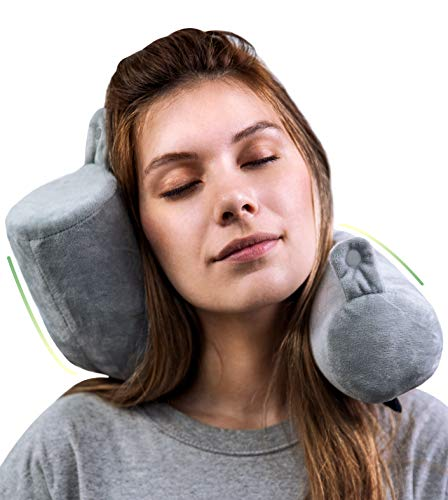 - Goose Twist Memory Foam Travel Pillow - Roll Support for Neck, Chin, Lumbar and Leg - Adjustable, Bendable & Flexible Cylindrical Pillow for Airplane, Bus, Train or Home - Washable Soft Cover (Grey)