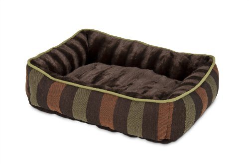 Petmate 80140 Fashion Rectangular Lounger for Pets, 24 by 20-Inch, Dark Brown with Wide Stripe For Sale
