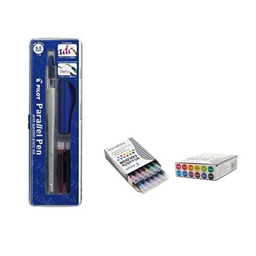 Lot 1coloriage plume calligraphique Pilot Parallel Pen plumin 6.0mm rechargeable + Boîte avec 12recharges assorties Stylo Pilot Parallel Pen