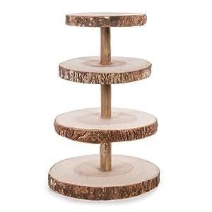 Darice David Tutera 4-Tier Rustic Wood Slice Cupcake Stand