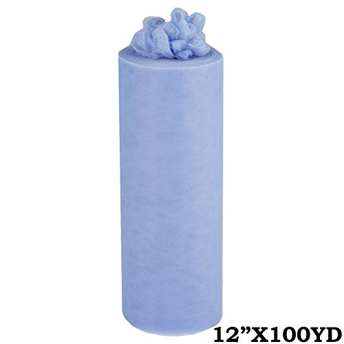 BalsaCircle 12-Inch x 300 feet Periwinkle Tulle Fabric by The Bolt - Sewing DIY Craft Wedding Party Favors Decorations -