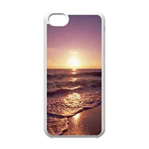 Ocean Sunset Foamy Waves iPhone 5c Cell Phone Case White DIY GIFT pp001_8016664