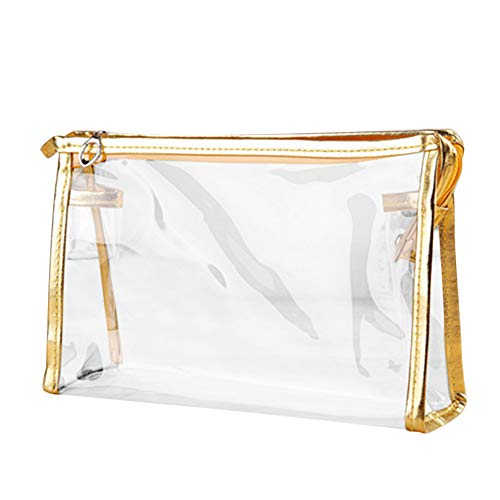 Pencils 4th Graders (KFSO Pencil Bag,Clear Transparent Plastic PVC Zipper Travel Cosmetic Make Up Toiletry Bag (Gold))