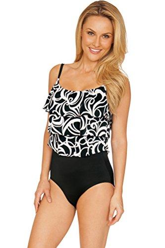63b43573354 Longitude White Steamy Plus Size Triple Tier One Piece Swimsuit Size 22W