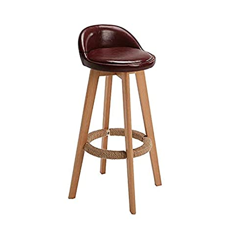 Miraculous Amazon Com Cyhwdhw Bar Stool Wooden Bar Chair Leather Inzonedesignstudio Interior Chair Design Inzonedesignstudiocom