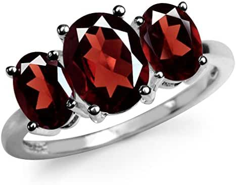 3.87ct. 3-Stone Natural Garnet 925 Sterling Silver Ring