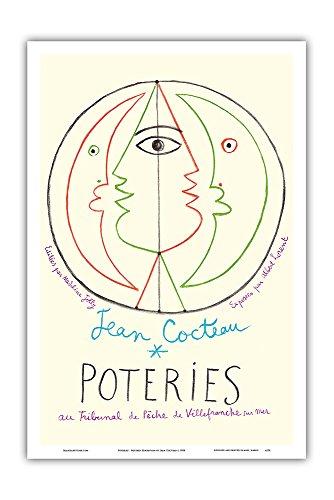 Pacifica Island Art Poteries - Pottery Exhibition at the Tribunal de Pche de Villefranche sur Mer - Vintage Exhibition Poster by Jean Cocteau c.1958 - Master Art Print - 12in x 18in