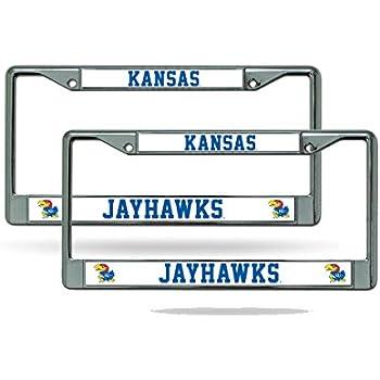 2 License Plate Frame Set Kansas Jayhawks NCAA Chrome Metal