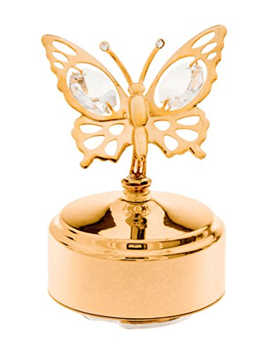 Butterfly 24k Gold-Plated Swarovski Crystal Rotating Musical Figurine