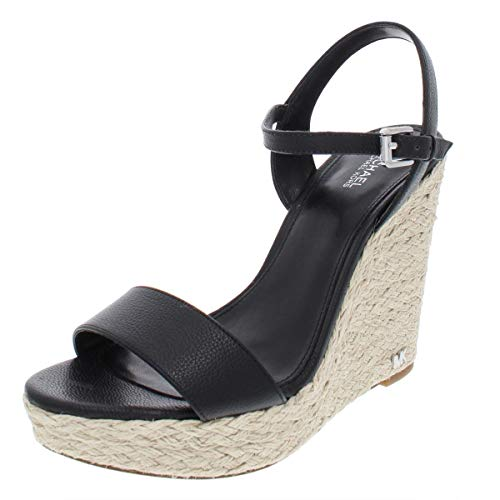 Michael Michael Kors Womens Jill Leather Wedge Sandals Black 11 Medium (B,M)